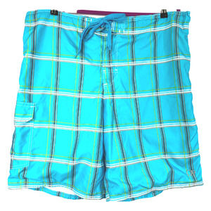 OP Swim Trunks Teal with Plaid Print - XL (40-42)